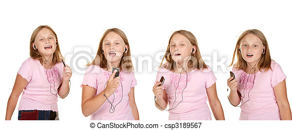 images of young girl dancing with mp3 - csp3189567