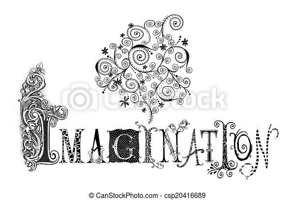 Ilustración de tipografía imaginaria - csp20416689