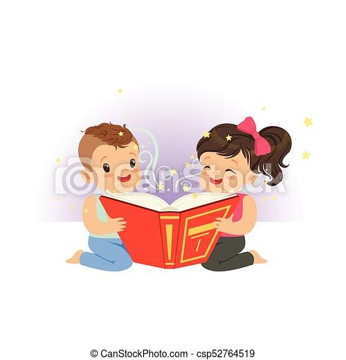 Imagination Garcon Peu Magie Livre Plat Concept Stories Enfants Deux Illustration Dessin Anime Characters Vecteur Lecture Fille