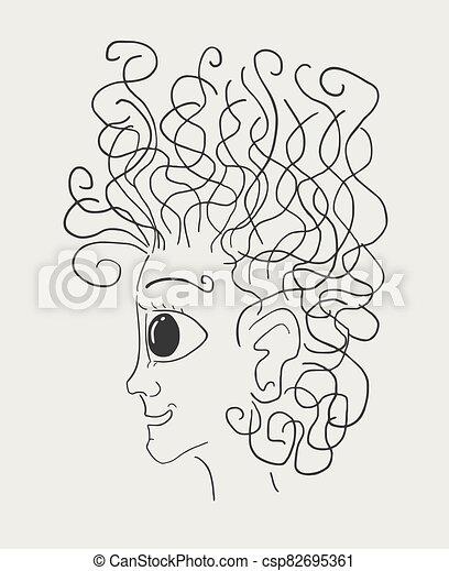imaginative face draw - csp82695361