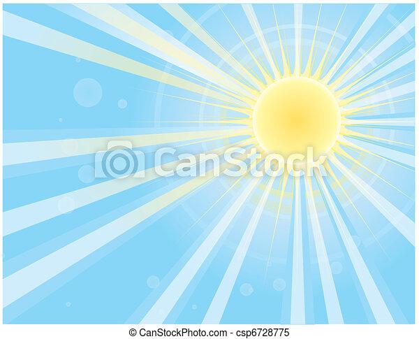 immagine, blu, sole, vettore, raggi, sky. - csp6728775
