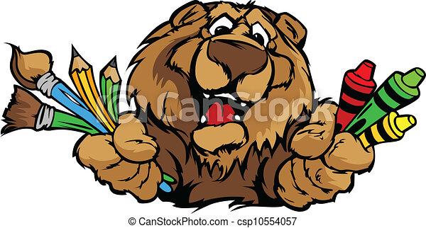 immagine, orso, vettore, mascotte, cartone animato, prescolastico, felice - csp10554057