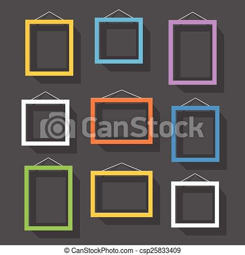 immagine, set, cornice, wall., contenuto, sagoma, vuoto - csp25833409
