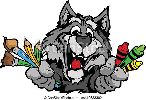 immagine, vettore, lupo, mascotte, cartone animato, prescolastico, felice - csp10533302