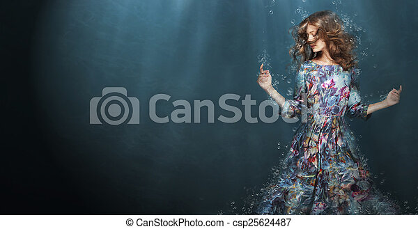 Immersion. Woman in Deep  Blue Sea. Fantasy - csp25624487