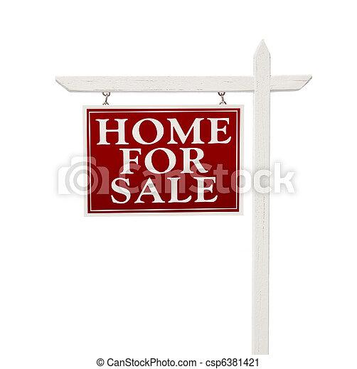 immobilienverkauf, zeichen, daheim, weißes - csp6381421
