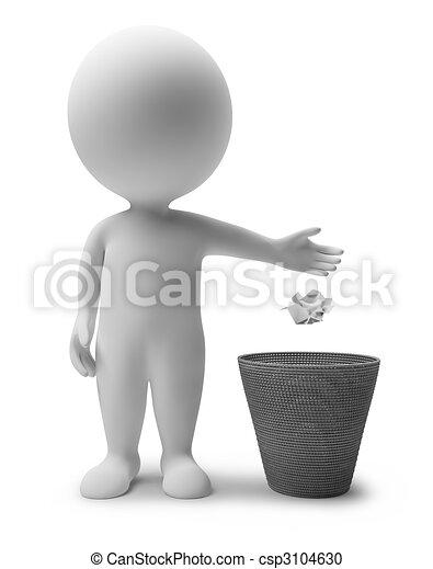 immondizia, persone, -, piccolo, cesto, 3d - csp3104630