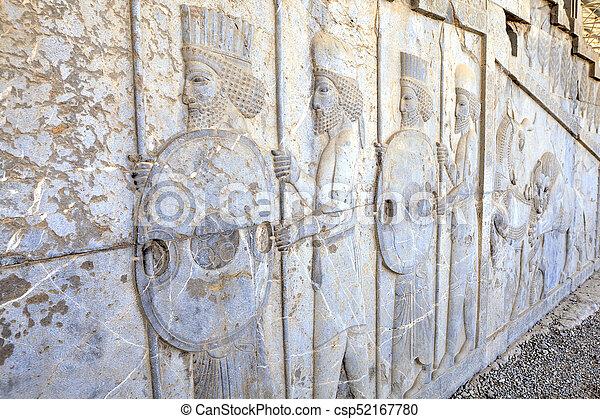 Immortals Persian Warriors Bas Relief In Darius Palace Persepolis Iran Persian Warriors Armed Bas Relief In Xerxes Palace