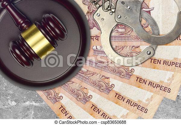 impôt, action éviter, procès, desk., marteau, tribunal, police, juge, judiciaire, rupees, menottes, indien, factures, concept, ou, 10, bribery. - csp83650688