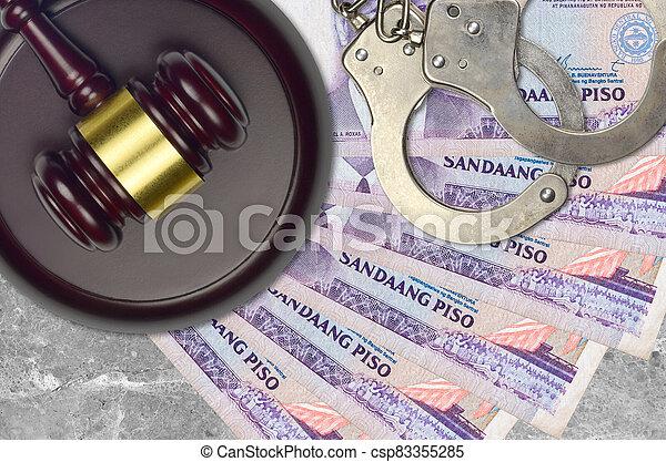 impôt, action éviter, procès, philippine, desk., marteau, tribunal, police, 100, juge, judiciaire, menottes, factures, concept, ou, piso, bribery. - csp83355285