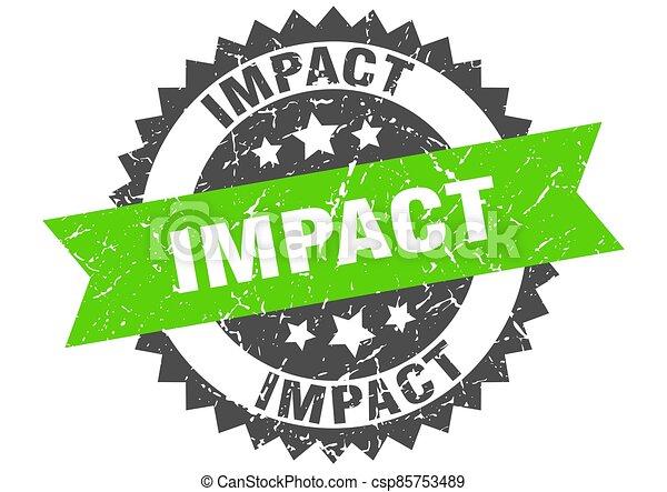 impact stamp. grunge round sign with ribbon - csp85753489