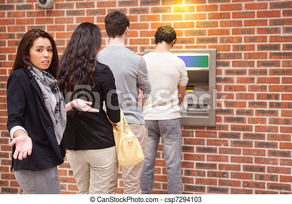 Impatient woman queuing - csp7294103
