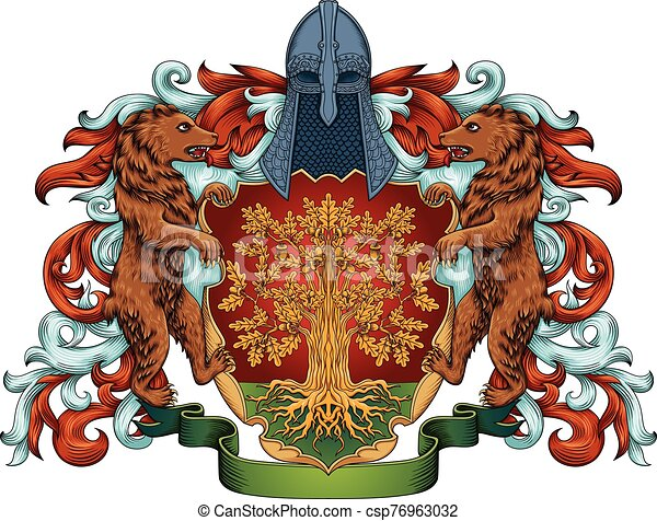 Imperial coat of arms - heraldic royal emblem shield with crown and laurel - csp76963032