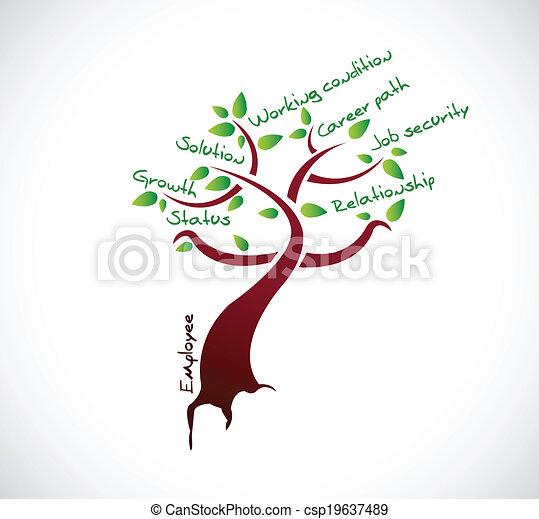 impiegato, albero, crescita, disegno, illustrazione - csp19637489