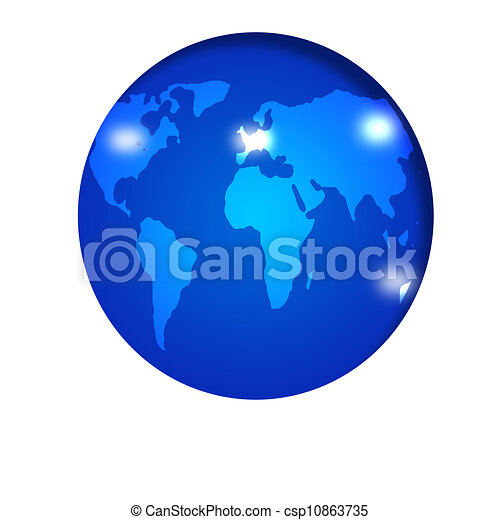 Important landmark on blue earth map - csp10863735