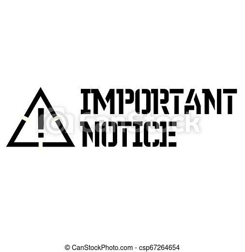 Important Notice label - csp67264654