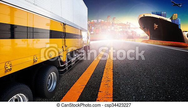 importation, bateau, camion, avion, exportation, port, récipient, fret, cargaison, port - csp34423227
