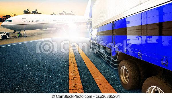 importation, , business, logistique, avion, camion, bateau, transport, port, exportation, récipient, fret, usage, toile de fond, voler, fond, cargaison, port - csp36365264
