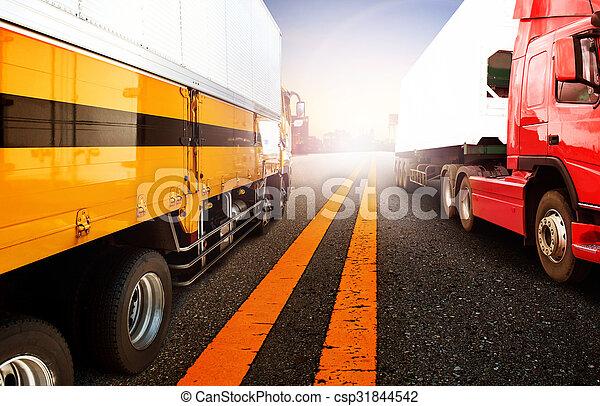 importation, , business, logistique, avion, camion, bateau, transport, port, exportation, récipient, fret, usage, toile de fond, voler, fond, cargaison, port - csp31844542