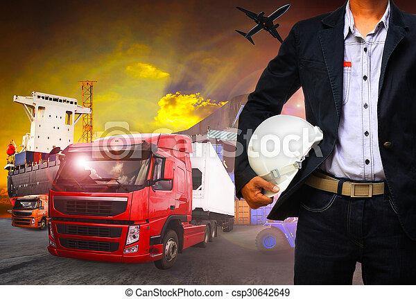 importation, fonctionnement, business, exportation, expédition, homme, fret, port, cargaison - csp30642649