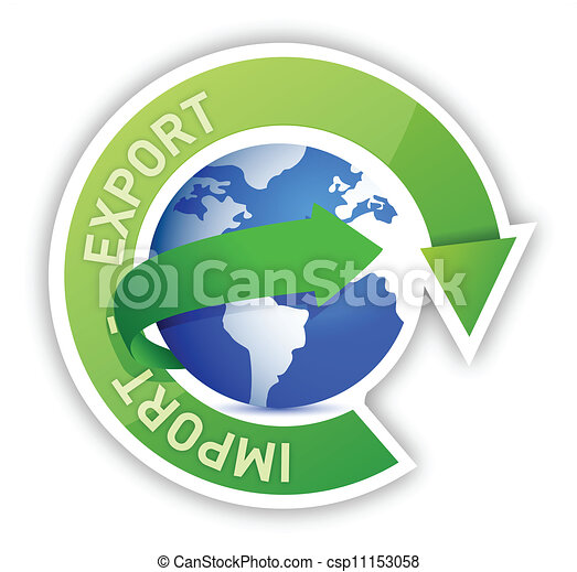importation, globe, exportation, illustration, cycle - csp11153058