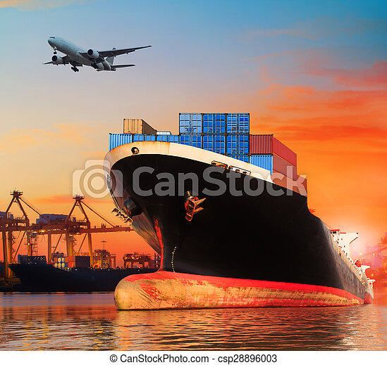 importation, industrie, commercial, vaisseau, business, bateau, bic, transport, exportation, port, jetée, usage, cargaison - csp28896003