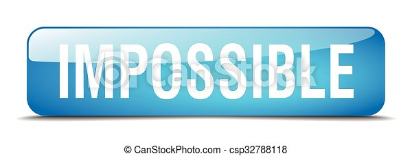 impossible blue square 3d realistic isolated web button - csp32788118