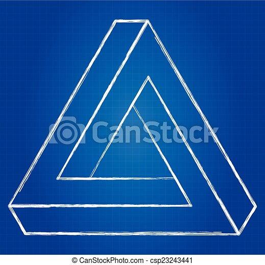 Impossible triangle optical illusion blueprint impossible triangle csp23243441 malvernweather Choice Image