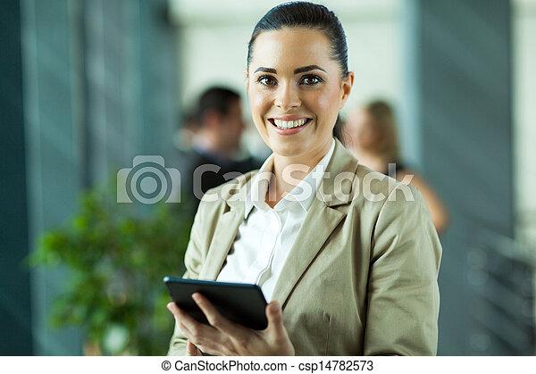 imprenditore, computer, femmina, tavoletta, usando - csp14782573