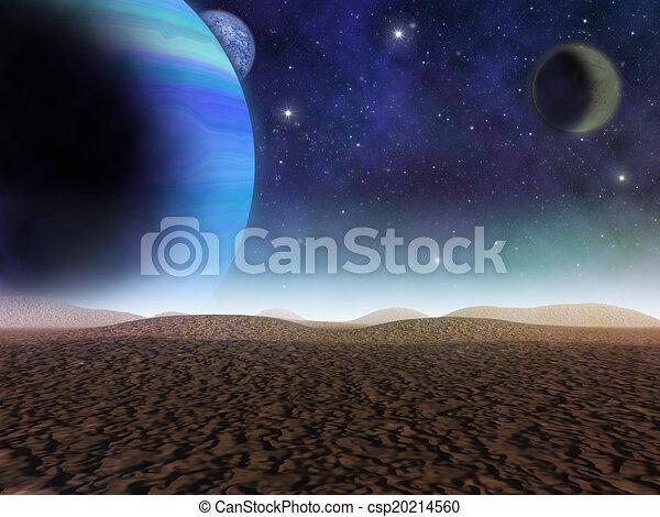 impresión, artista, planet., -, extranjero, fantasía, arenoso, planetas, lunas, desert., paisaje, vista - csp20214560