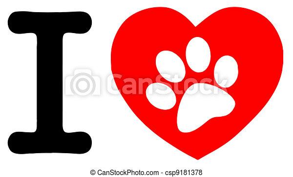 Una huella de pata en un corazón y una carta - csp9181378