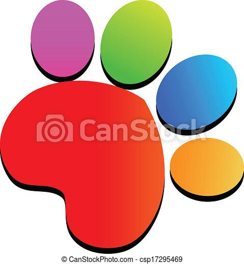 Logotipo de huellas de patas coloridas - csp17295469