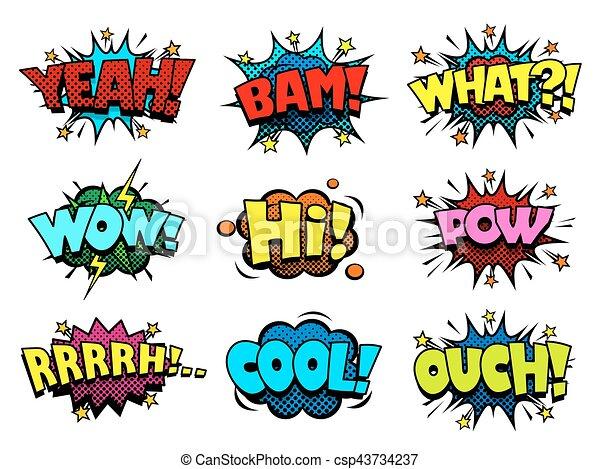 Burbujas De Habla De Cómics Onda Expansiva Y Sonido De Choque Imitación De Textura De La Mitad De Uno Burbujas De Habla De Canstock