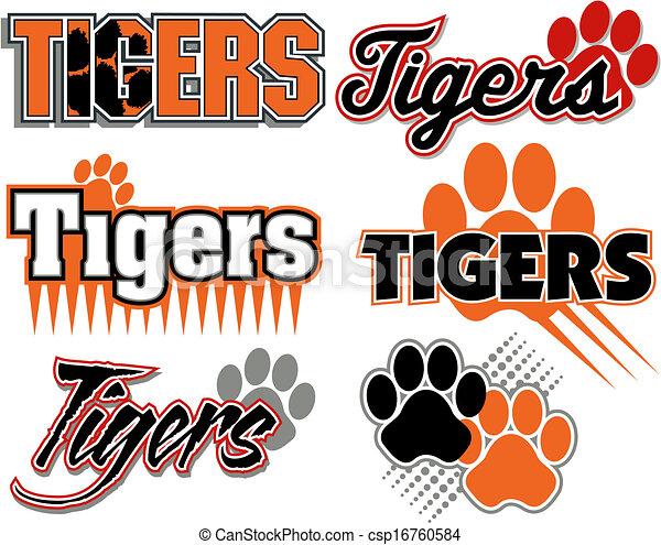 Tigres con diseños de huellas de patas - csp16760584