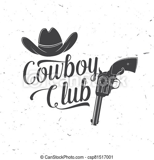 impresión, vaquero, concepto, vector., gun., salvaje, club, silhouette., revólver, sombrero, oeste, rodeo., camisa, estampilla, tee, logotipo, rancho, vendimia, badge., tipografía, diseño - csp81517001