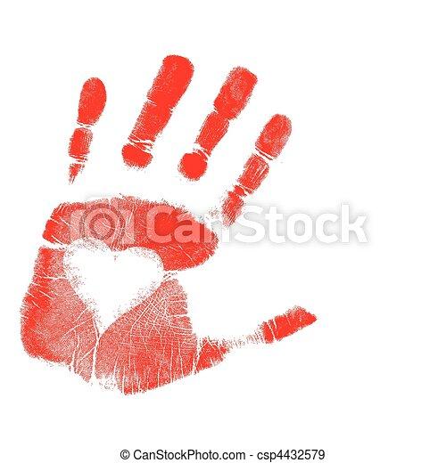 La huella de la mano del amor / vector - csp4432579