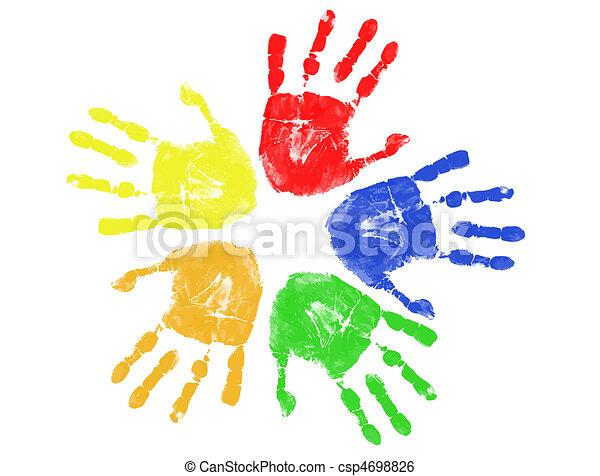 impresiones, colorido, mano - csp4698826