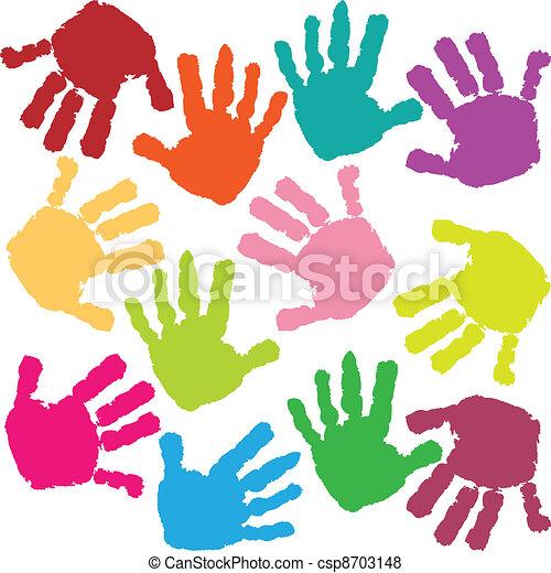 Huellas de manos del niño - csp8703148