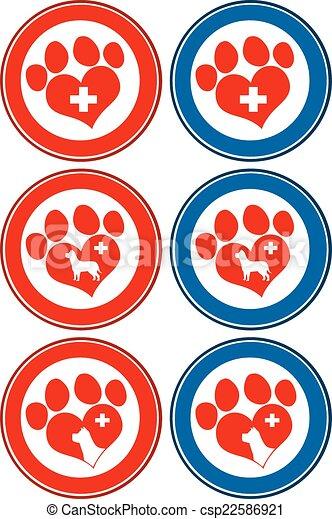 impressão, bandeiras, veterinário, amor, pata - csp22586921