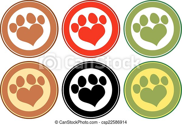 impressão, círculo, amor, bandeiras, pata - csp22586914