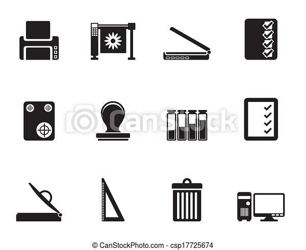 impressão, indústria, silueta, ícones - csp17725674