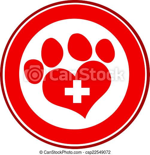 impressão, veterinário, amor, pata - csp22549072
