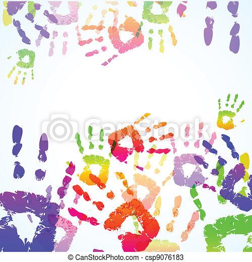 impressões, coloridos, fundo, mão - csp9076183