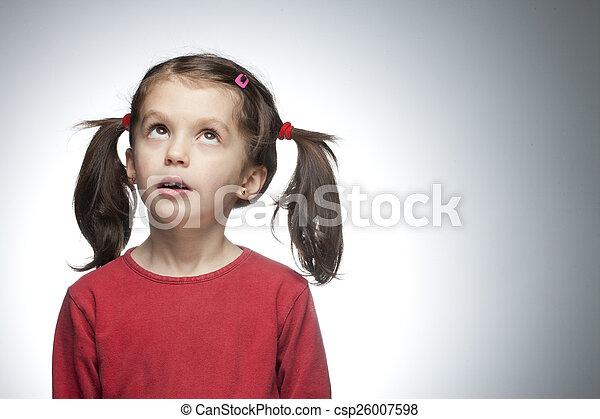 impressed girl looking up - csp26007598