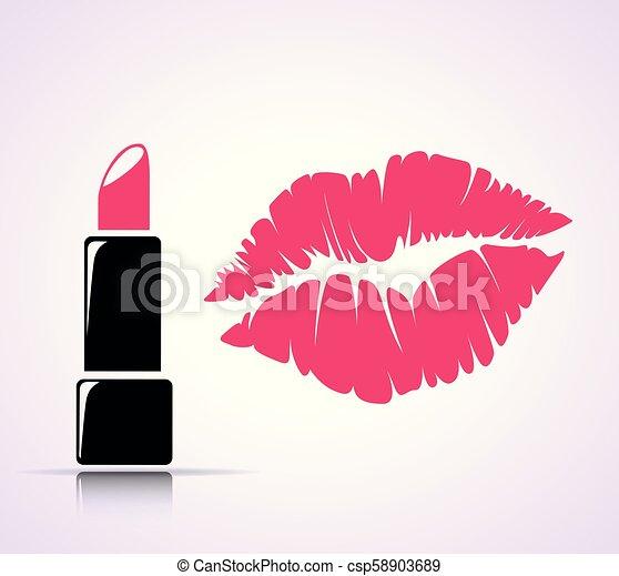 impression, concept, baiser rouge lèvres