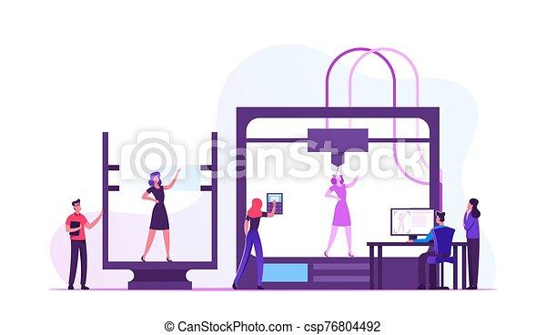 impression, créer, modèle, illustration, additif, vivant, entrepreneurs, vecteur, plat, dessin animé, femme, ingénieurs, imprimante, modelage, laboratory., développement, innovation, 3d, utilisation, technologie, progrès - csp76804492