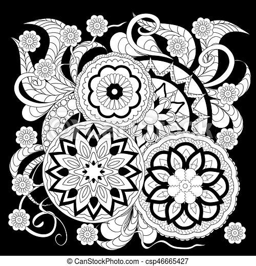Impression Fleurs Blanches Noir Mandalas