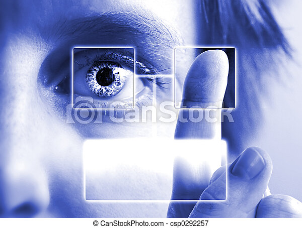 impression, iris, doigt, balayage - csp0292257