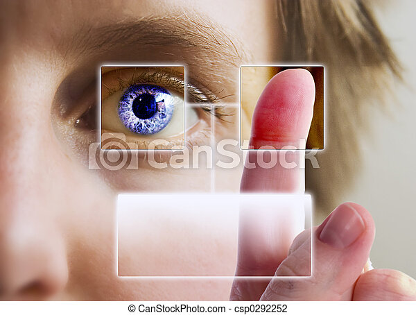impression, iris, doigt, balayage - csp0292252