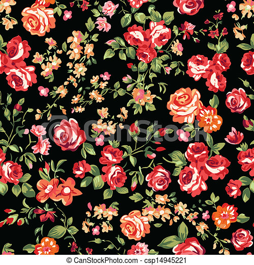 Impression Roses Rouge Noir Classique Seamless Roses Fond